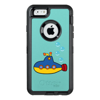 Yellow and Blue Toy Submarine with Water Bubbles OtterBox Defender iPhone Case