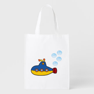 Yellow and Blue Toy Submarine with Water Bubbles Reusable Grocery Bag