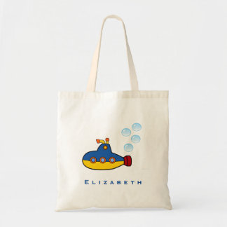 Yellow and Blue Toy Submarine with Water Bubbles Tote Bag