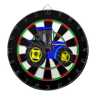 Yellow and blue tractor dart boards