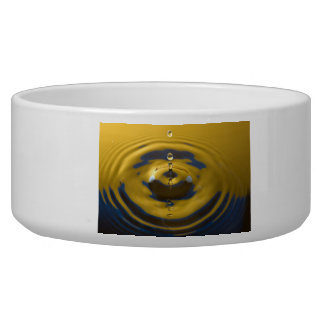 Yellow and Blue Water Drop Dog Bowl