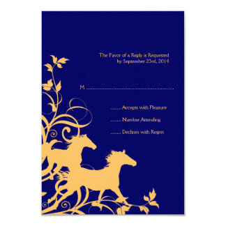 Yellow and Blue Wild Horses Wedding RSVP card