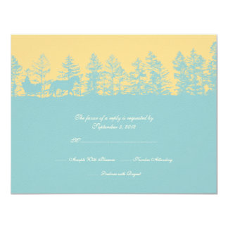 Yellow and Blue Winter Wedding RSVP Card