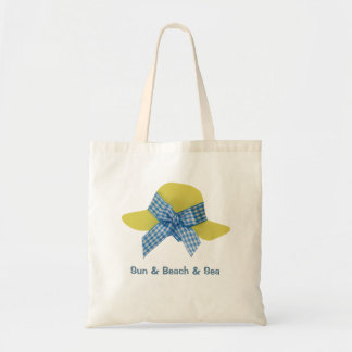 Yellow and blue women's straw hat tote bag