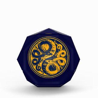 Yellow and Blue Yin Yang Chinese Dragons Award