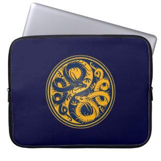 Yellow and Blue Yin Yang Chinese Dragons Laptop Sleeves