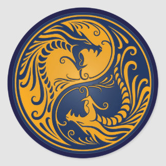 Yellow and Blue Yin Yang Dragons Classic Round Sticker