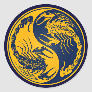 Yellow and Blue Yin Yang Scorpions Classic Round Sticker