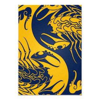 Yellow and Blue Yin Yang Scorpions Invitations