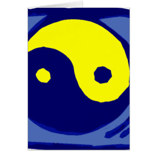 yellow and blue ying yang symbol card