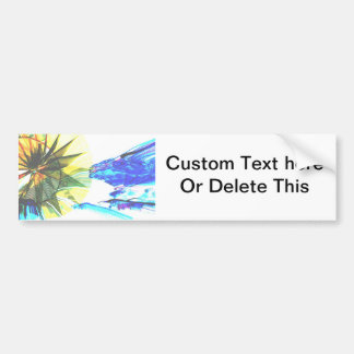 Yellow and Blue Zoomed Rides on White Abstract Bumper Sticker