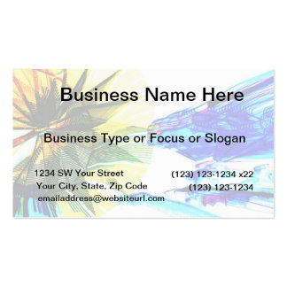 Yellow and Blue Zoomed Rides on White Abstract Double-Sided Standard Business Cards (Pack Of 100)