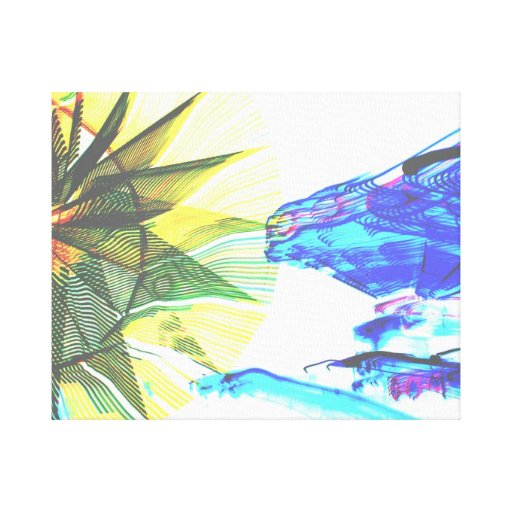 Yellow and Blue Zoomed Rides on White Abstract Canvas Print