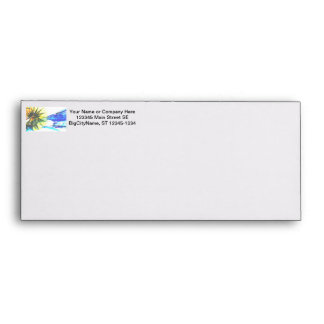 Yellow and Blue Zoomed Rides on White Abstract Envelope