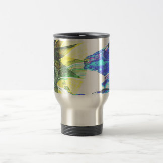 Yellow and Blue Zoomed Rides on White Abstract Coffee Mugs