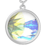 Yellow and Blue Zoomed Rides on White Abstract Pendants