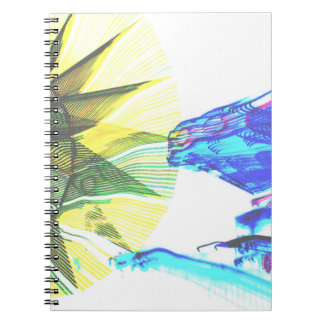 Yellow and Blue Zoomed Rides on White Abstract Notebook