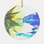 Yellow and Blue Zoomed Rides on White Abstract Christmas Ornament