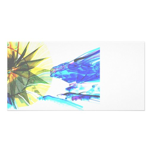 Yellow and Blue Zoomed Rides on White Abstract Photo Greeting Card