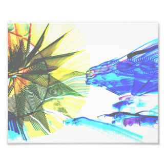 Yellow and Blue Zoomed Rides on White Abstract Art Photo