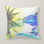 Yellow and Blue Zoomed Rides on White Abstract Pillow