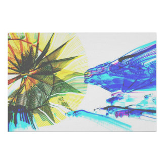 Yellow and Blue Zoomed Rides on White Abstract Poster