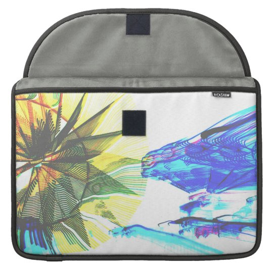 Yellow and Blue Zoomed Rides on White Abstract Sleeve For MacBooks