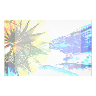 Yellow and Blue Zoomed Rides on White Abstract Stationery