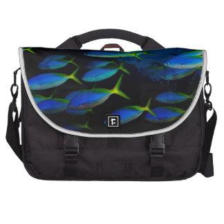 Yellow and blueback fusil fish in Fiji Laptop Commuter Bag