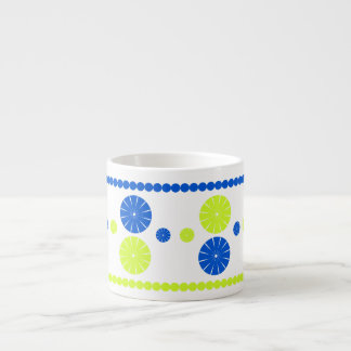 Yellow and blur flowery circles espresso cup