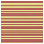 [ Thumbnail: Yellow and Brown Colored Striped Pattern Fabric ]