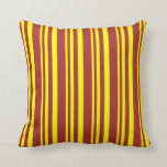 [ Thumbnail: Yellow and Brown Colored Striped Pattern Pillow ]