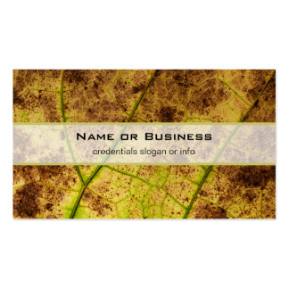 Yellow and Brown Dying Macro Leaf Business Card