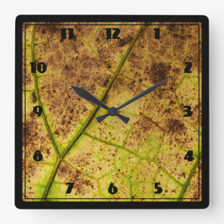 Yellow and Brown Dying Macro Leaf Square Wall Clock