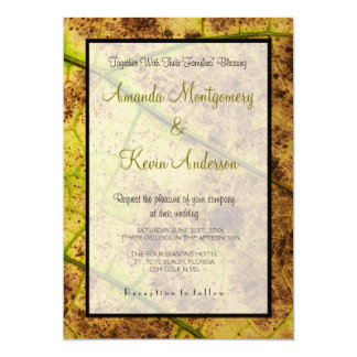 Yellow and Brown Dying Macro Leaf Wedding Card