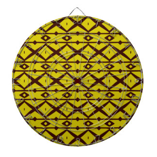 Yellow and Brown Elegant Modern Trellis Pattern Dart Boards
