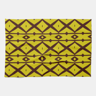 Yellow and Brown Elegant Modern Trellis Pattern Towel