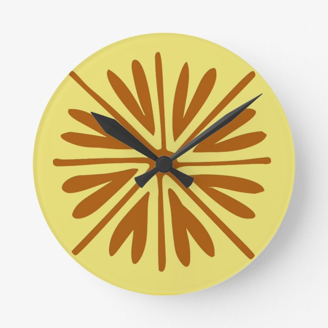 Yellow and Brown Folk Flower Minimal Abstract