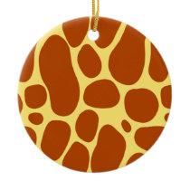 Yellow and Brown Giraffe Pattern Ceramic Ornament