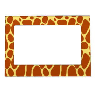 Yellow and Brown Giraffe Pattern Magnetic Photo Frame