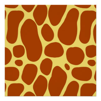 Yellow and Brown Giraffe Pattern Poster