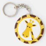 Yellow and Brown Giraffe Spots and Giraffe Head Keychains