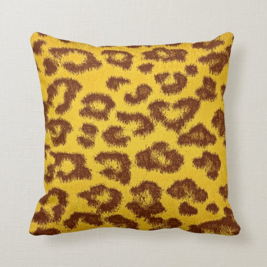 Yellow and Brown Leopard Print Throw Pillow