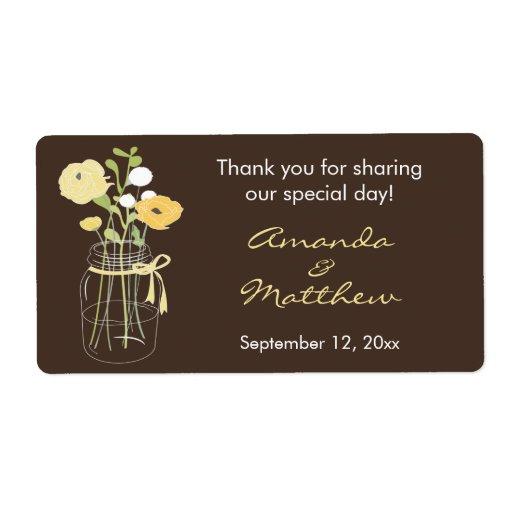 Yellow And Brown Mason Jar Wedding Favor Labels Zazzle