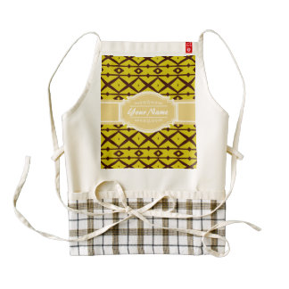 Yellow and Brown Pattern with Personalized Name Zazzle HEART Apron