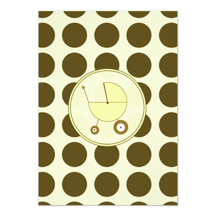 Yellow and Brown Polka Dot Baby Shower Invitation