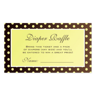 Yellow and Brown Polka Dot Diaper Raffle Ticket Double-Sided Standard Business Cards (Pack Of 100)