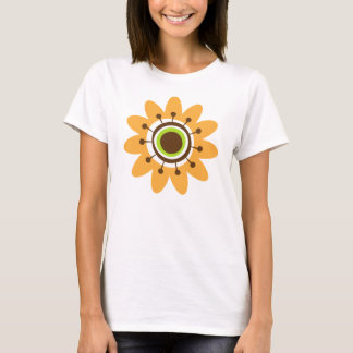Yellow and brown retro flower t-shirt