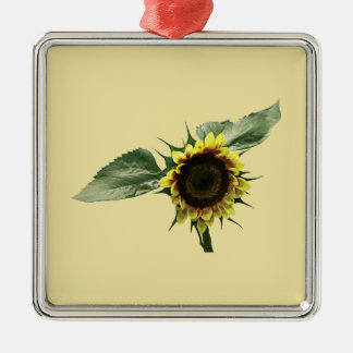 Yellow and Brown Sunflower Metal Ornament
