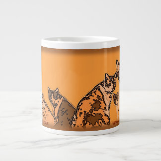 Yellow and brown tabby cats 20 oz large ceramic coffee mug